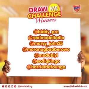"Winners of Rite Foods Nigeria ""Draw Me Challenge""."