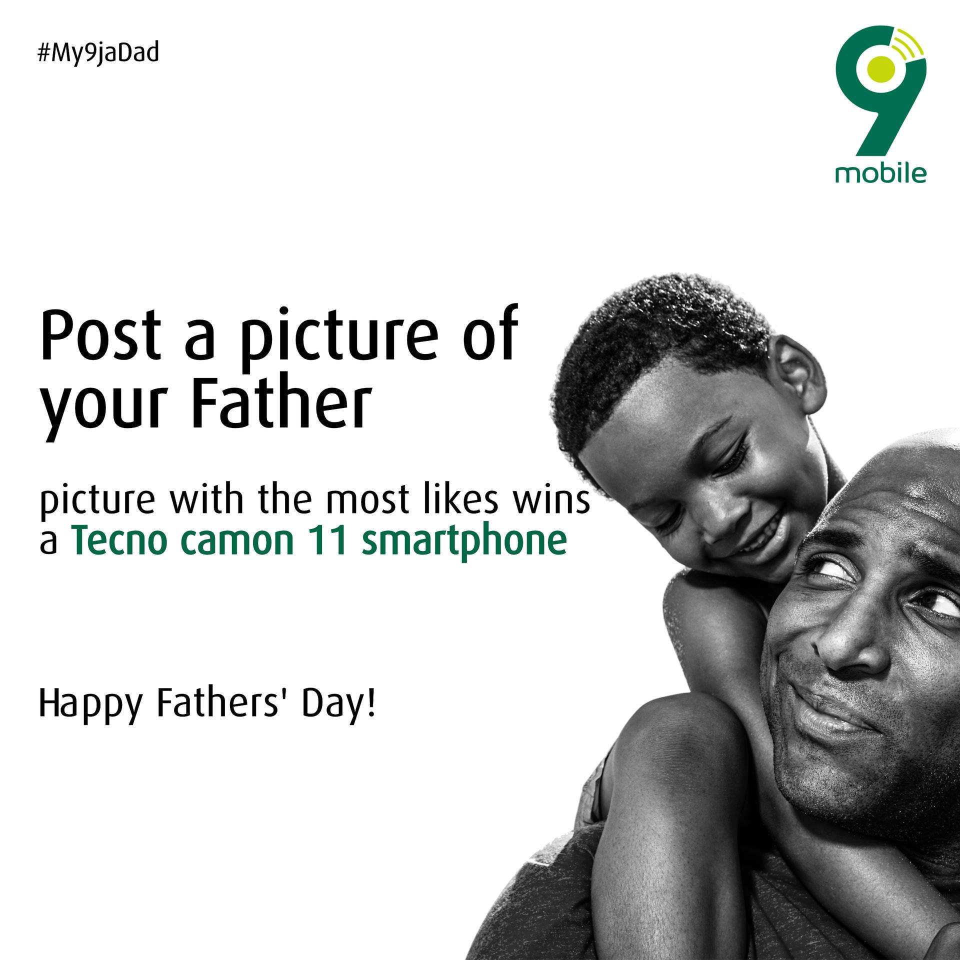 Win a Tecno Camon 11 Smartphone in 9Mobile Fathers Day Giveaway.