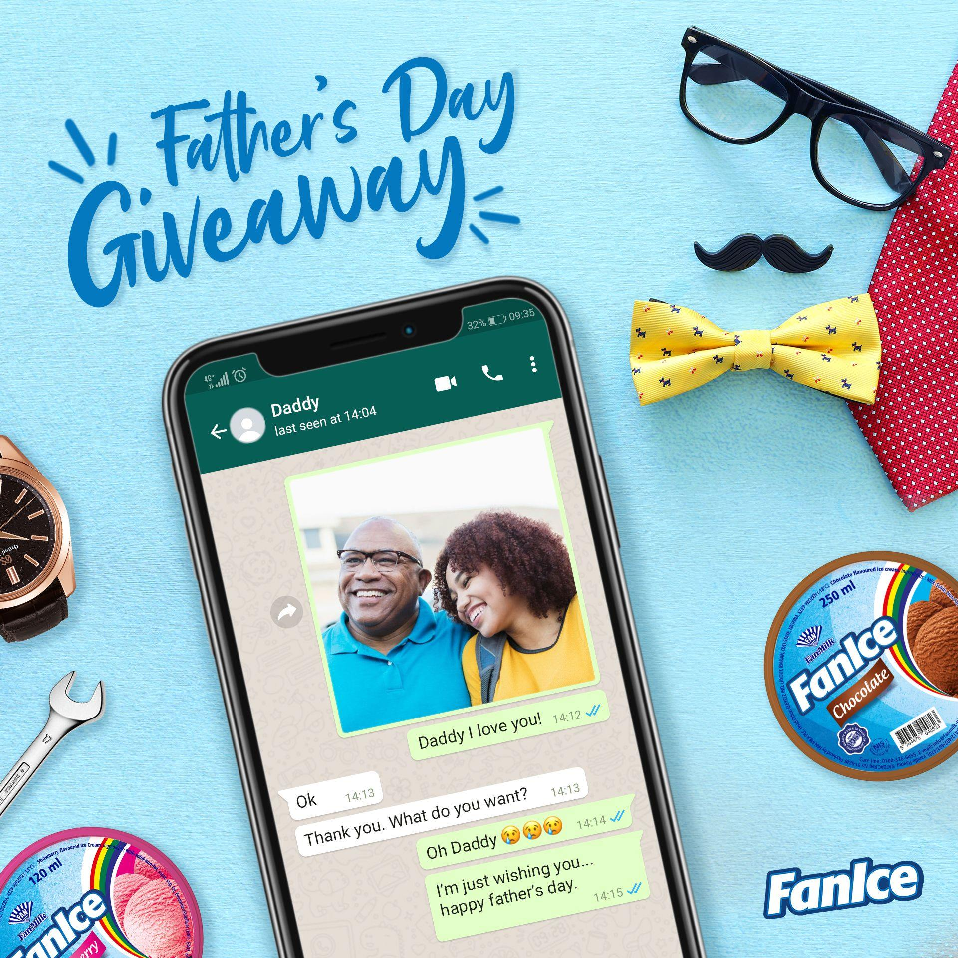 Win Products as you Participate in FanIce Fathers Day Giveaway, 2020.