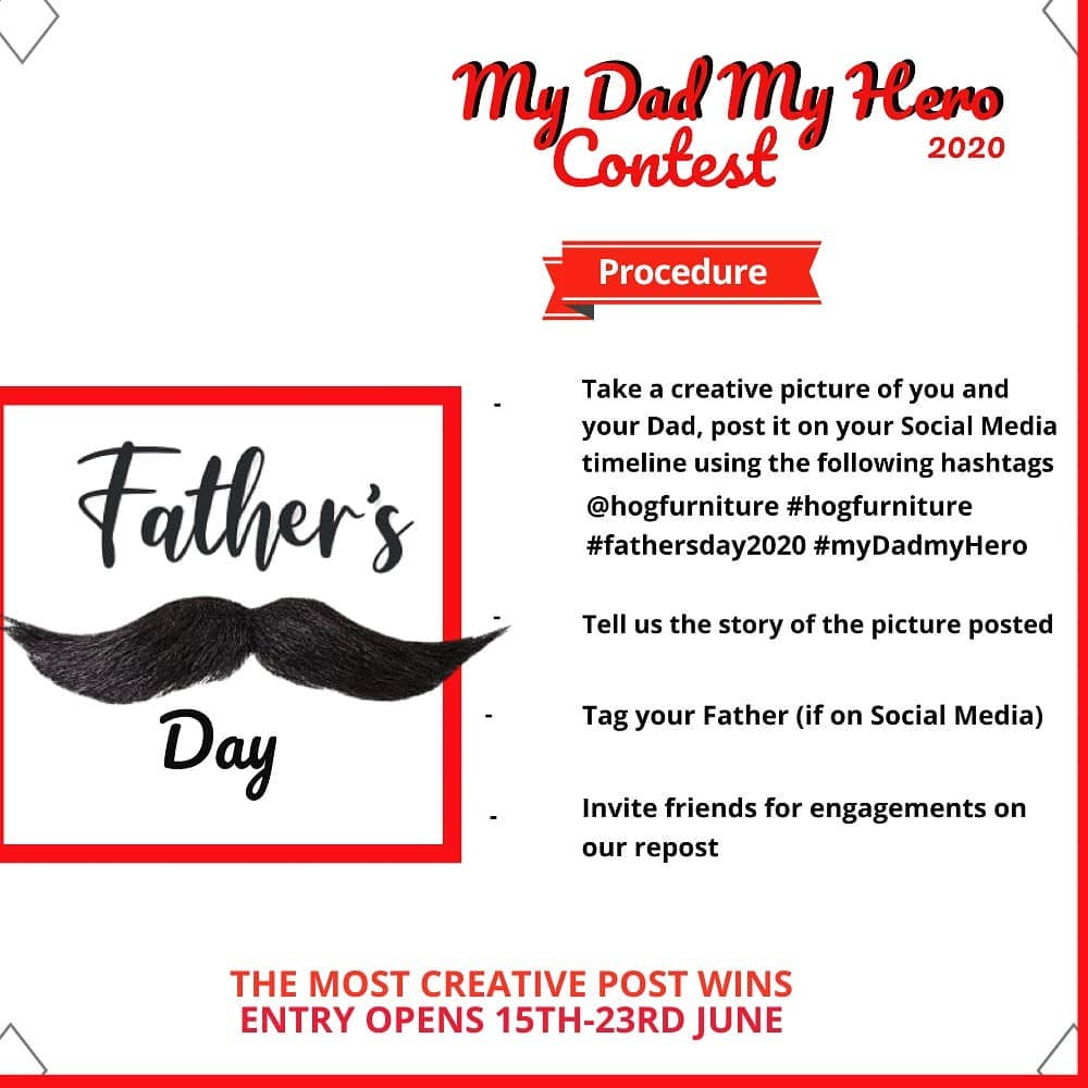 "Win Prizes in Hog Furniture ""My Dad My Hero"" Fathers Day Contest."