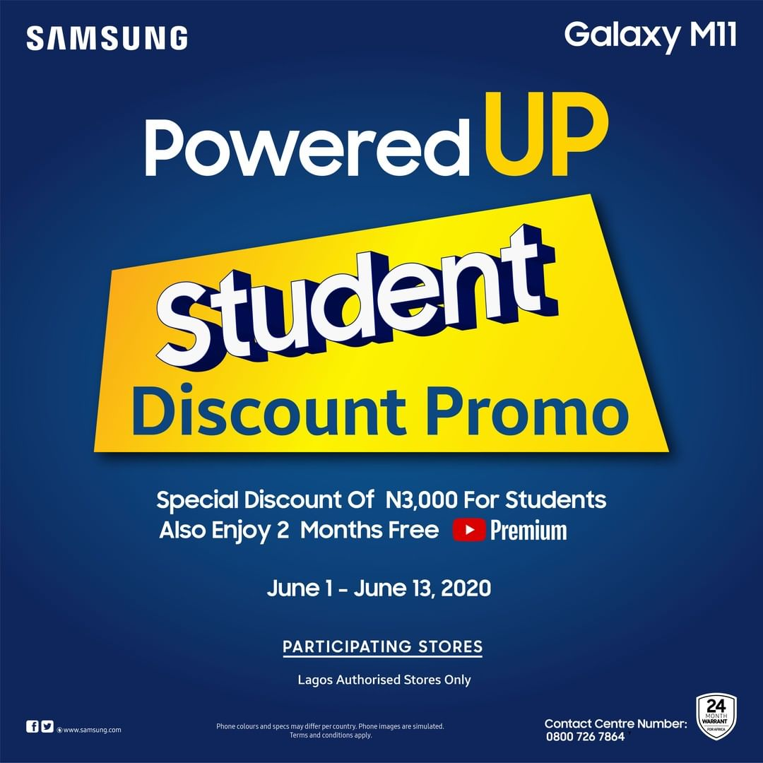 Samsung Student Discount Promo: Special Discount of N3000 For Students.