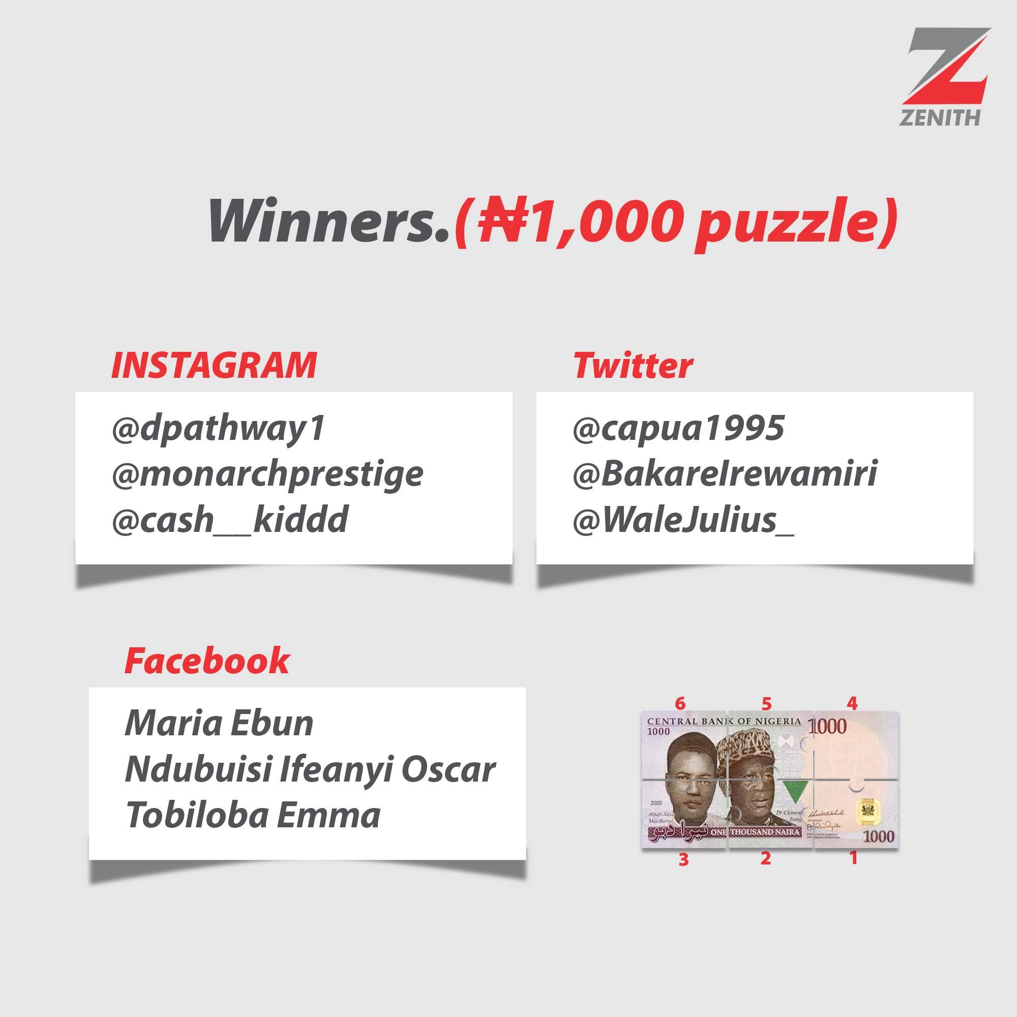 Some Winners of Zenith Bank Democracy Week Trivia.