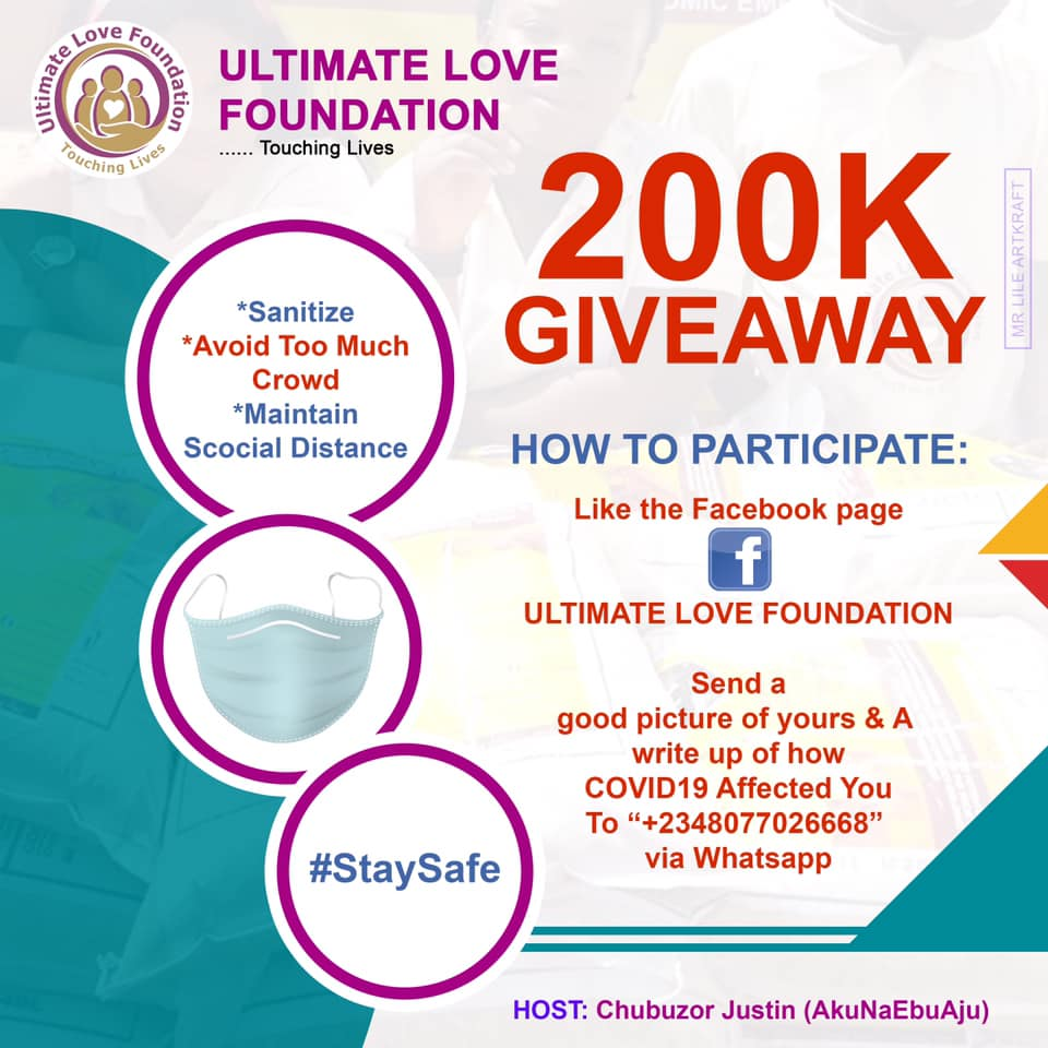Win N5K in this Month Ultimate Love Foundation N200K Giveaway.