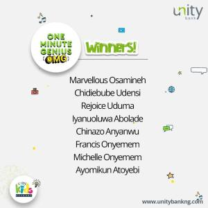 See Some Winners Of Unity Bank One Minute Genius