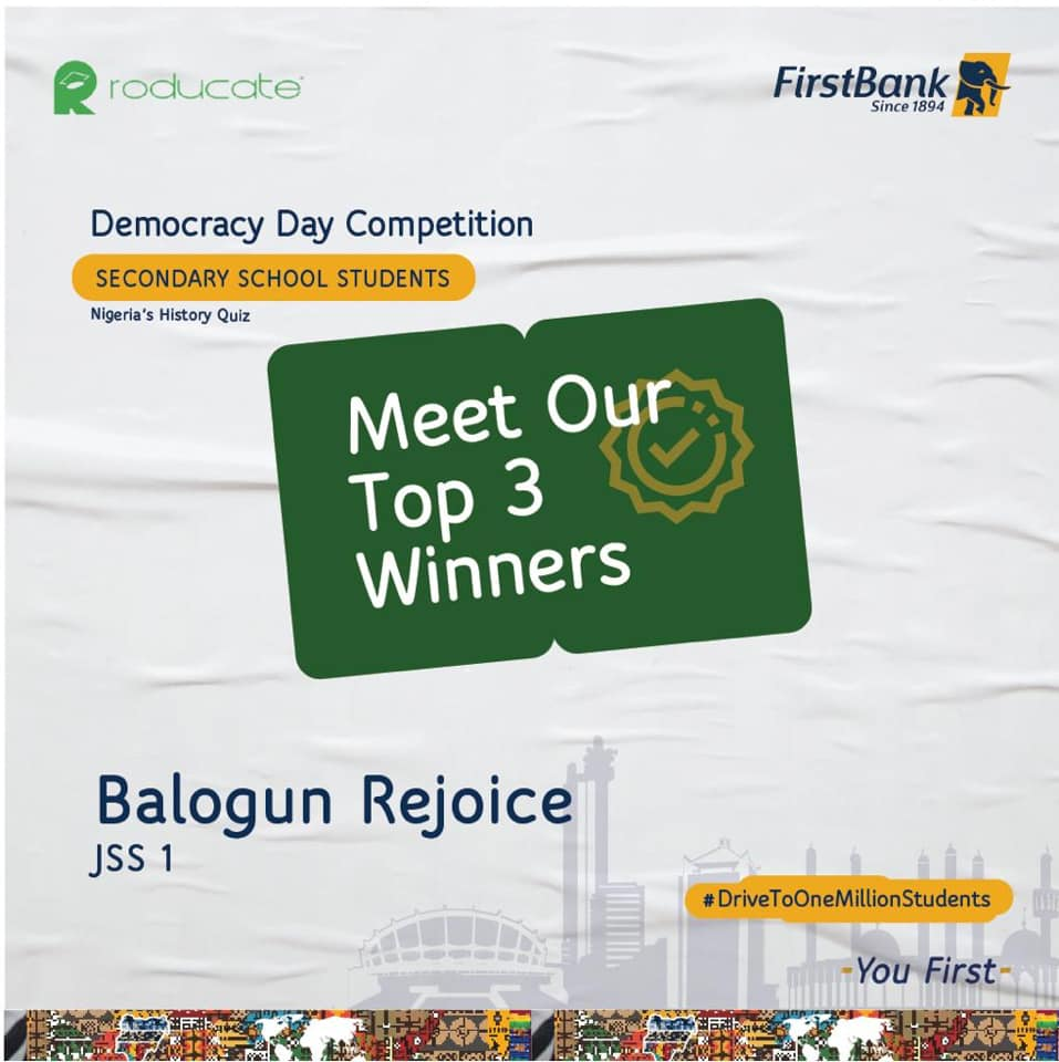 Winners of First Bank Democracy Day Competition.