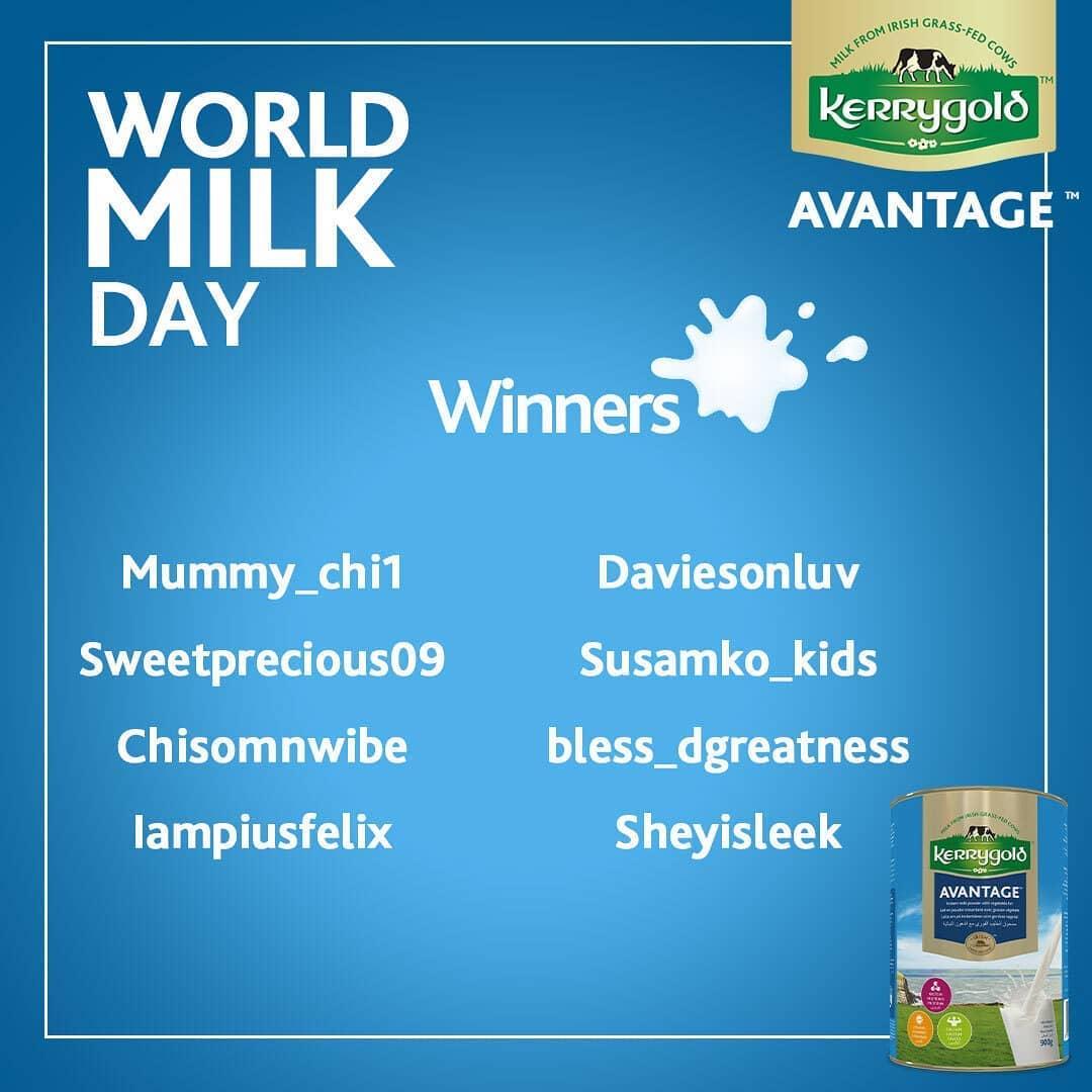 Winners of Kerrygold Nigeria World Milk Day Giveaway