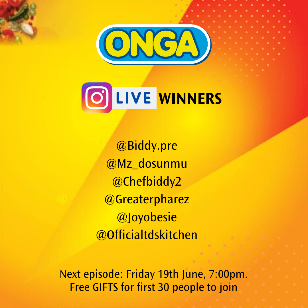 Winners of Onga Instagram Live @Afrolems and @dairyofakitchenlover