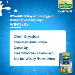 Winners of Kerrygold Nigeria Strike a Pose Challenge.