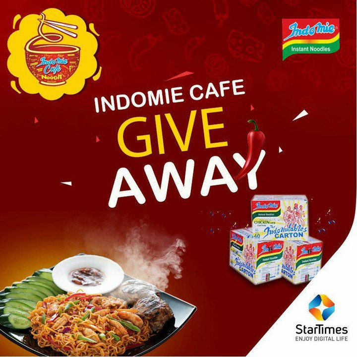 Win Cartons of Noodles in Indomie Cafe Giveaway with Startimes.