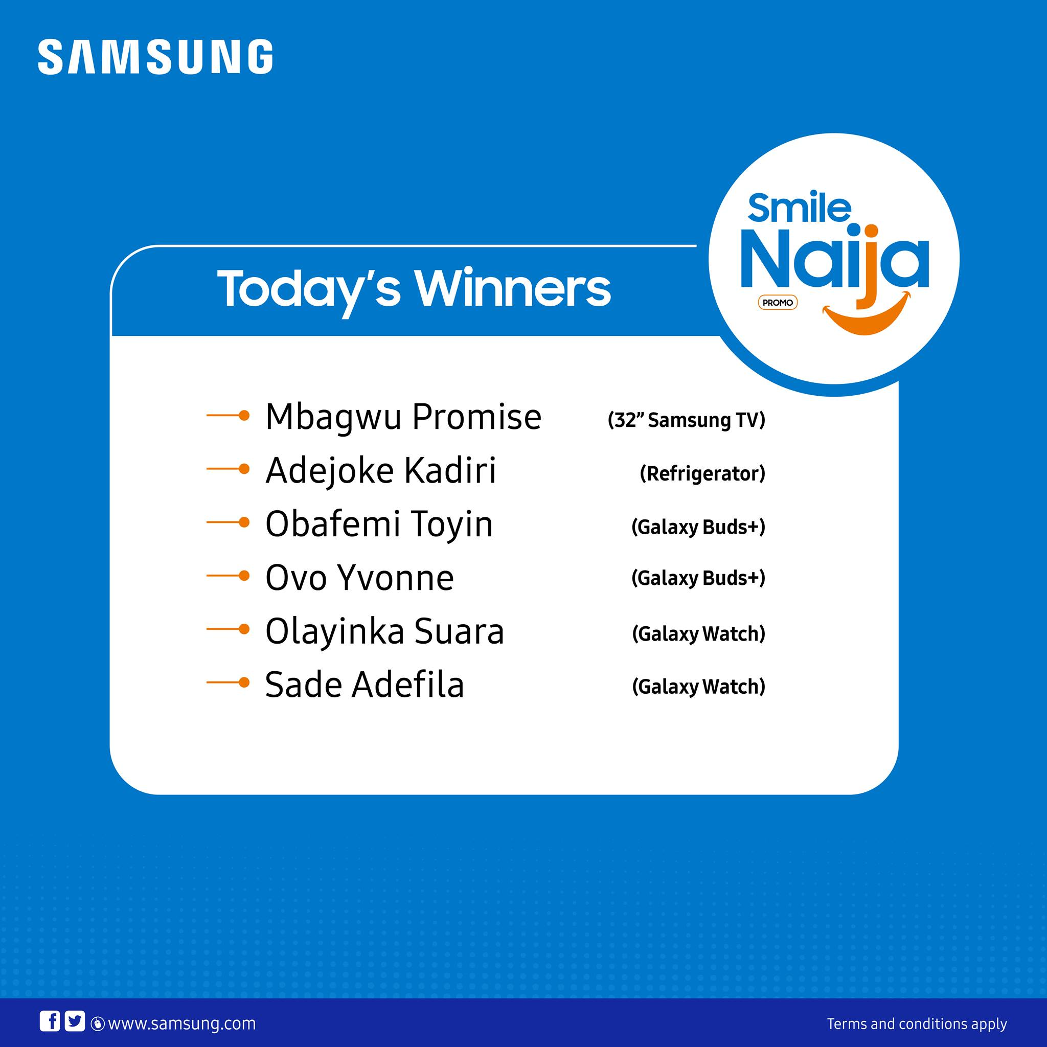 Day 6 Winners of SAMSUNG SMILE NAIJA PROMO Announced.