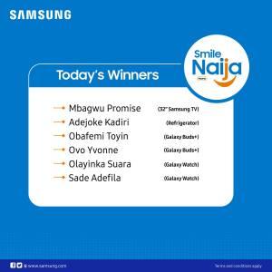 Day 6 Winners of SAMSUNG SMILE NAIJA PROMO Announced.