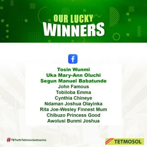 Winners of Tetmosol WatchAndWin Giveaway.