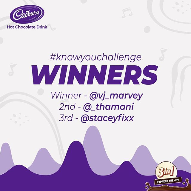 Winners of CadburyHotchocolate #KnowYouChallenge.
