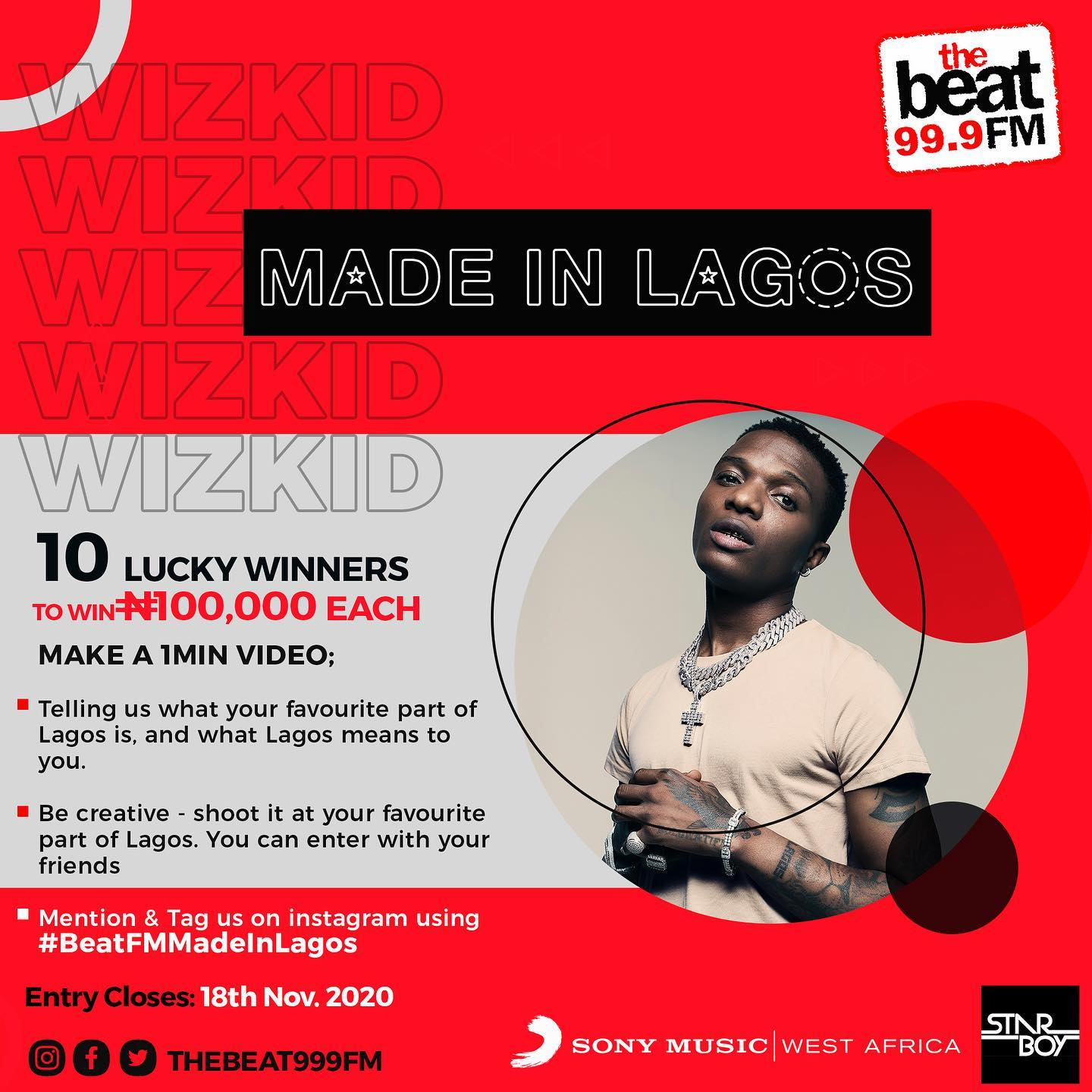 Join #BeatFMMadeinLagos Takeover Competition And Win N100k.