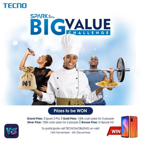 Win a Spark 5 Pro And  Cash Prizes in Tecno Mobile Big Value Challenge, 2020.