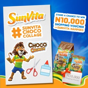 20 People to Win N10,000 Shopping Vouchers + 1 Month Supply in Sunvita Choco Collate Challenge, to mark the Upcoming Cereal Day.