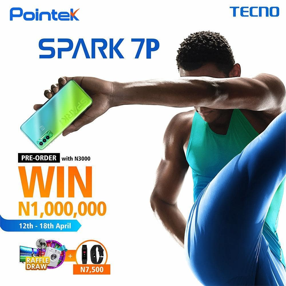 Pre-order the new Tecno Spark 7P with POINTEK and stand a chance of winning N1,000,000.