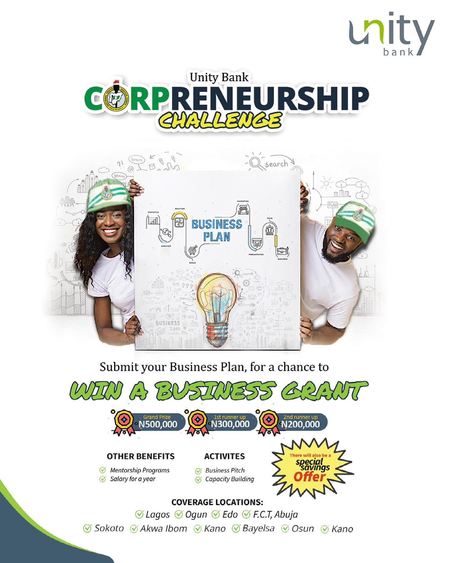 "Win your share of 10 Million Naira Grant in Unity Bank ""Corpreneurship Challenge""."