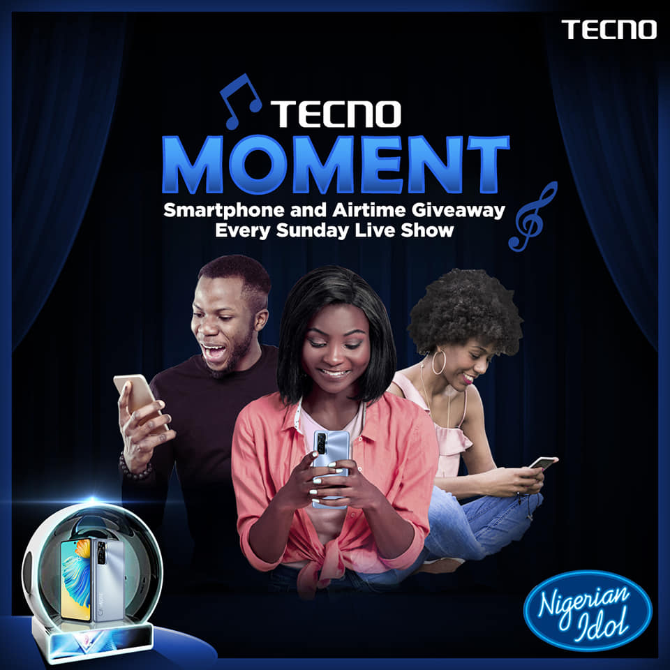 20 Lucky Fans to Win N5,000 in Tecno Moment Trivia on Nigerian Idol.
