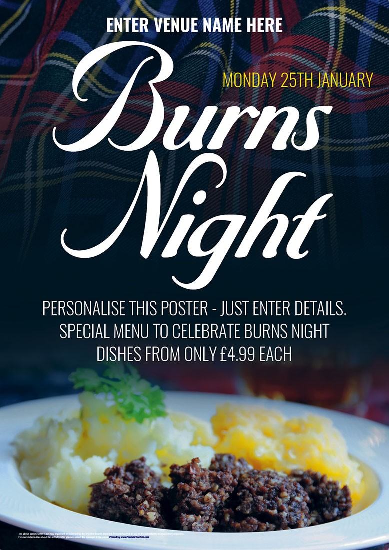 Burns Night Poster A2 Promote Your Pub