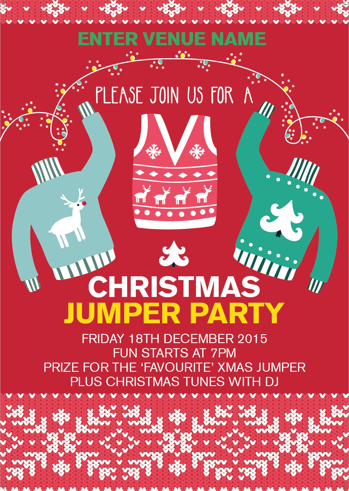 Christmas Jumper Party Poster Promote Your Pub