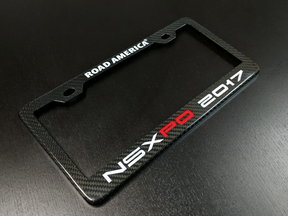 Carbon Fiber Custom Printed NSX NSXPO Expo License Plate Frame