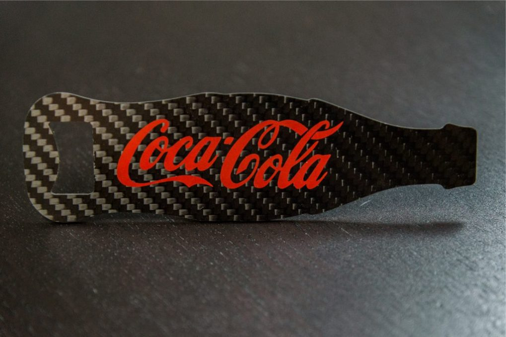Common Fibers - Custom Carbon Fiber Coca-Cola Design Bottle Opener