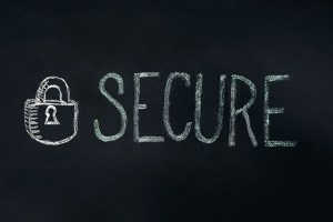 A drawing of a security lock and a written 'secure' word