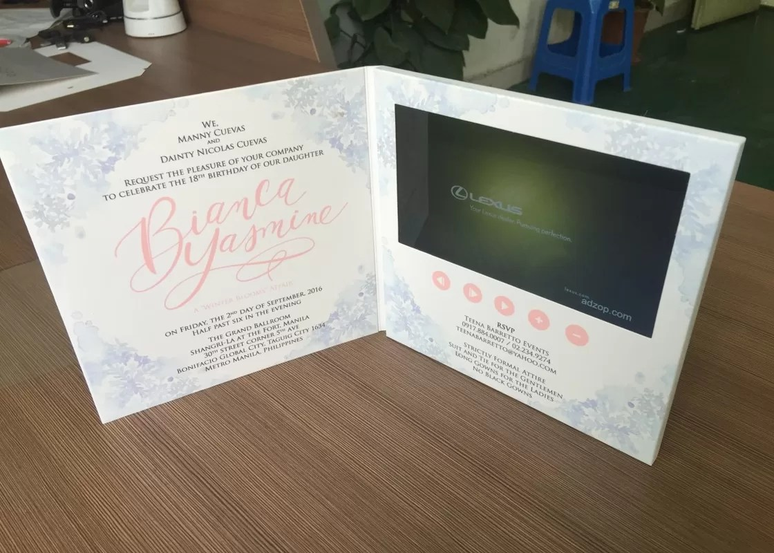 creative video in print technology 7inch hd lcd screen video brochures video invitation card video greeting card