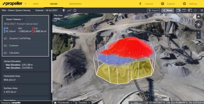 mesuring quarry stockpile volume using Propeller
