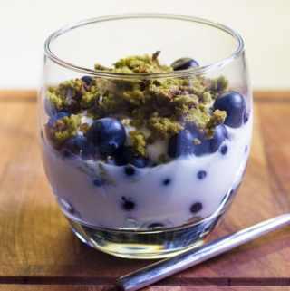 Matcha granola and blueberry yogurt breakfast pot