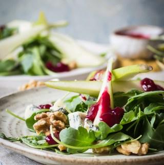 Fresh fruit and nut salad with gorgonzola