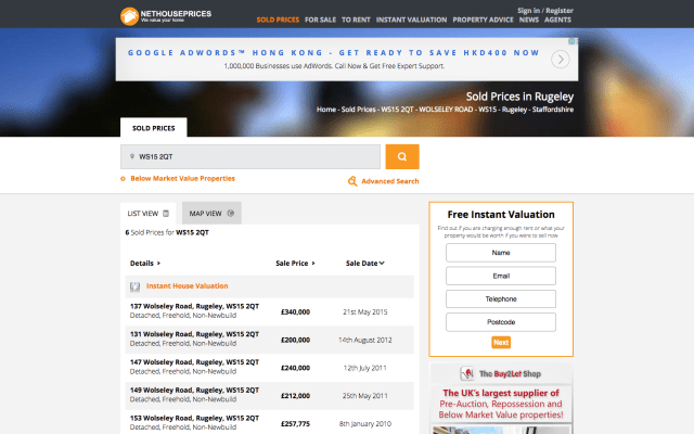 Screen shot of getting a property valuation using sold house prices from nethouseprices.net.