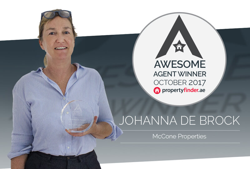 Johanna De Brock wins the Propertyfinder Awesome Agent award for the month of October, for her sale and rentals of apartments and villas in Dubai