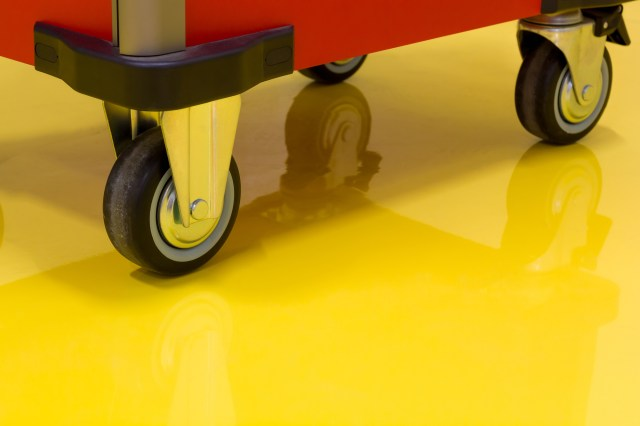 Roller Cart on Yellow Epoxy Floor for Commercial Floor Coating Blog