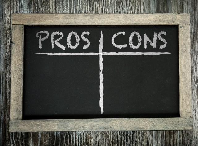 Pros and Cons of Debt Collection for Mulitfamily Managers On A Wooden Chalk Board