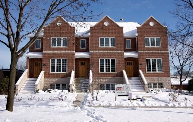 Modern Brick Front Apartment Rental Property After Snow Storm