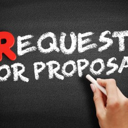 Request For Proposal Written On Chalkboard For Property Manager Insider BidSource