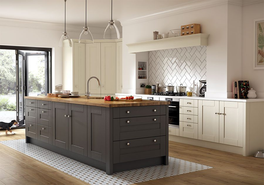 L Shaped Open Plan Kitchen Dining Living