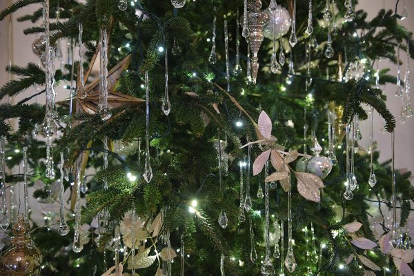 Crystal ornaments adorn a tree in the Cross Hall.