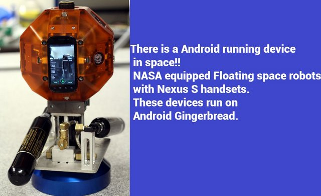 There is a Android running device in space