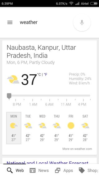 Weather from Google Now Voice Search