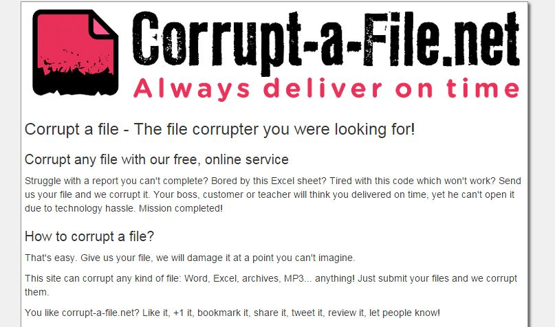 Corrupt your Files and assignment for extra time