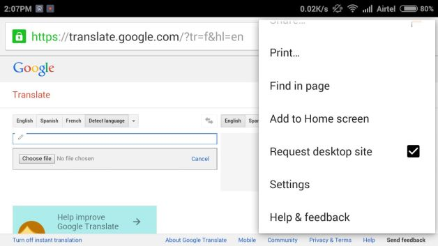 Translate Documents to Another Langauage from Google Translate