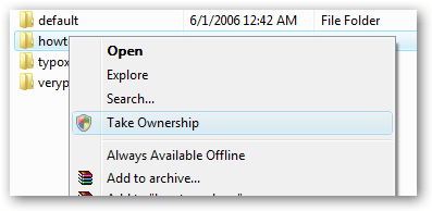 take ownership of files in windows