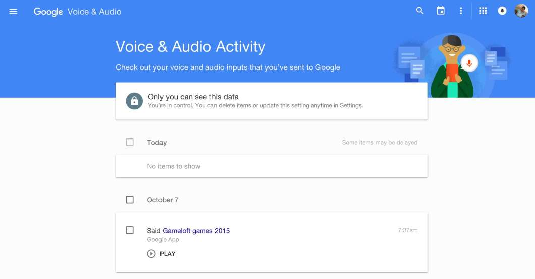 Google Voice Search History