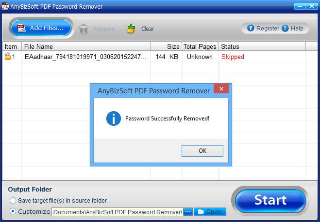 Remove Password from PDF File
