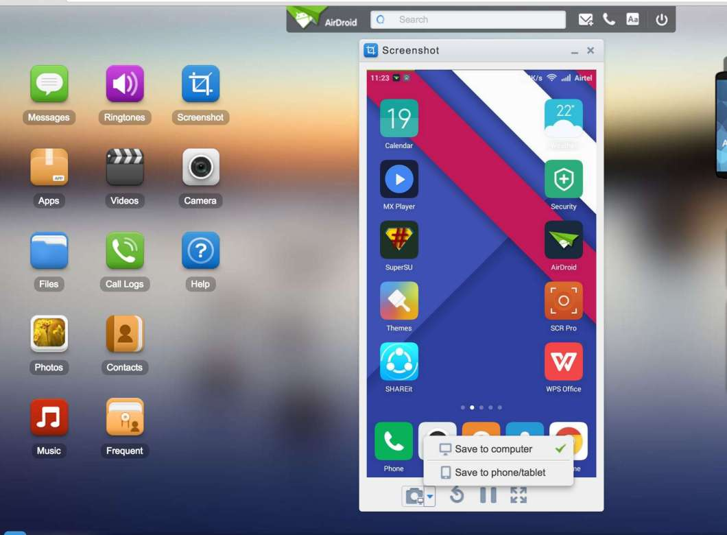 Mirror Your Android Screen to your PC browser from Airdroid App