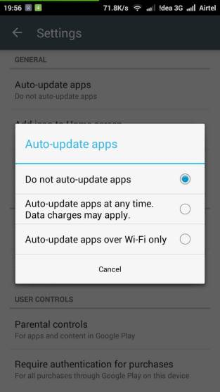 Do not auto update apps