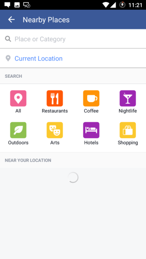Find Nearby Places in Facebook App